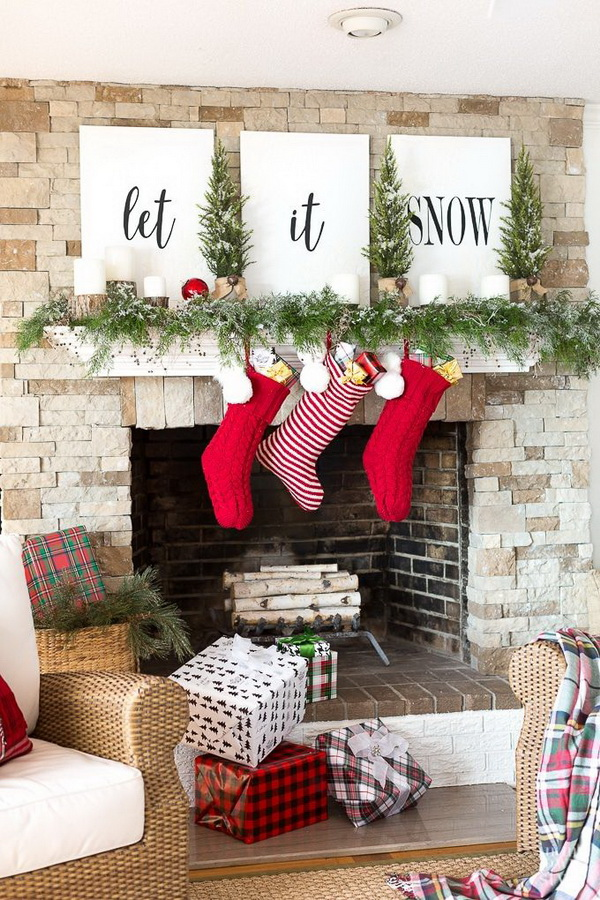 Let It Snow Christmas Mantel Decor.