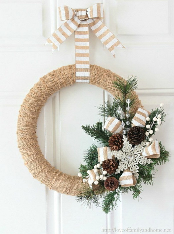 Burlap Christmas Wreathes.