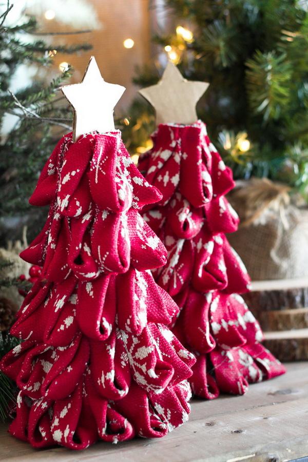 DIY Nordic Sweater Mini Christmas Trees.