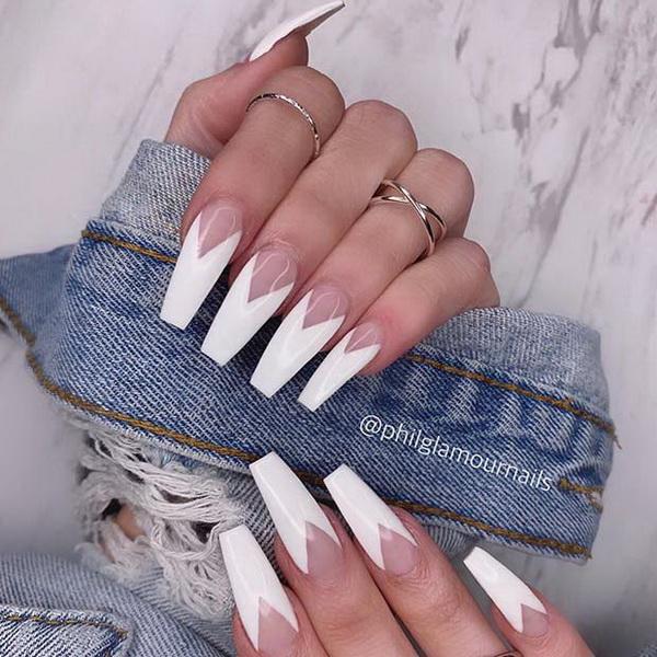 40+ Impressive White Coffin Nail Designs You'll Flip For in 2020.