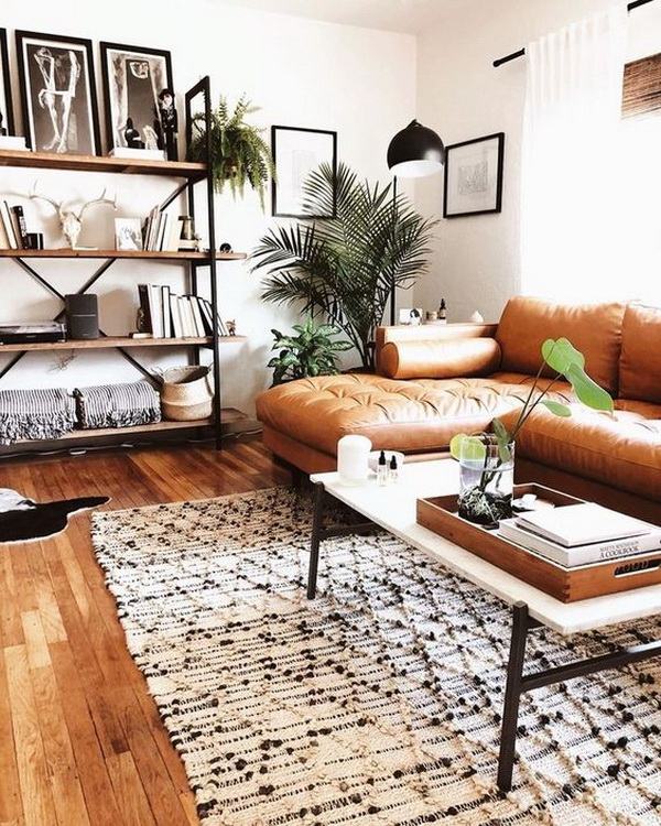 Chic industrial bohemian living room design.