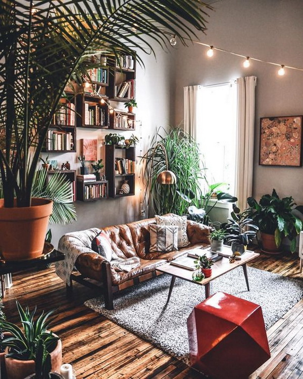 Industrial bohemian living room.