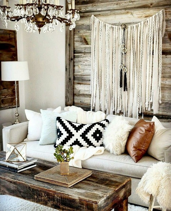 Rustic bohemian interior design.