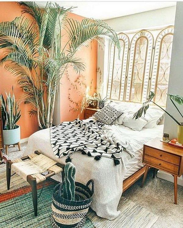 Modern bohemian bedroom.