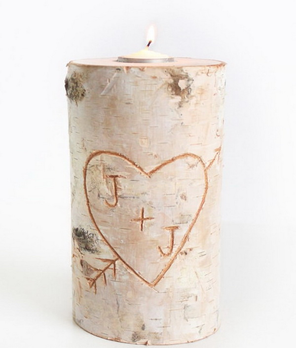 Birch Pillar DIY Candle Holder.