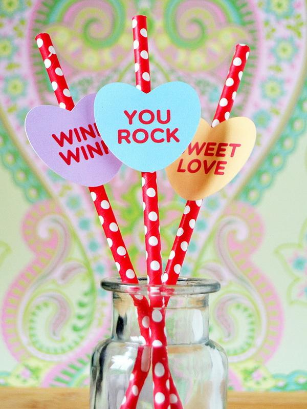 Cute Conversation Candy Heart Straws.