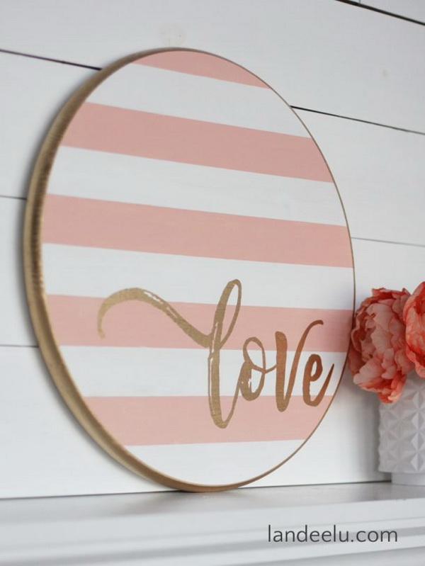Striped Round Love Sign for Valentine's Day.