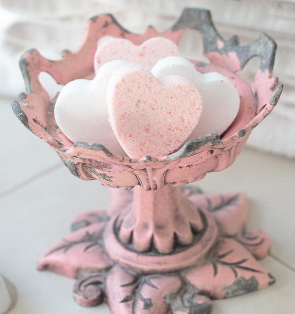 Love Potion Heart Homemade Bath Bomb.