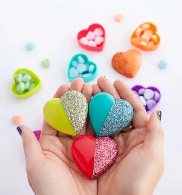 DIY Glitter Heart Candy Boxes.