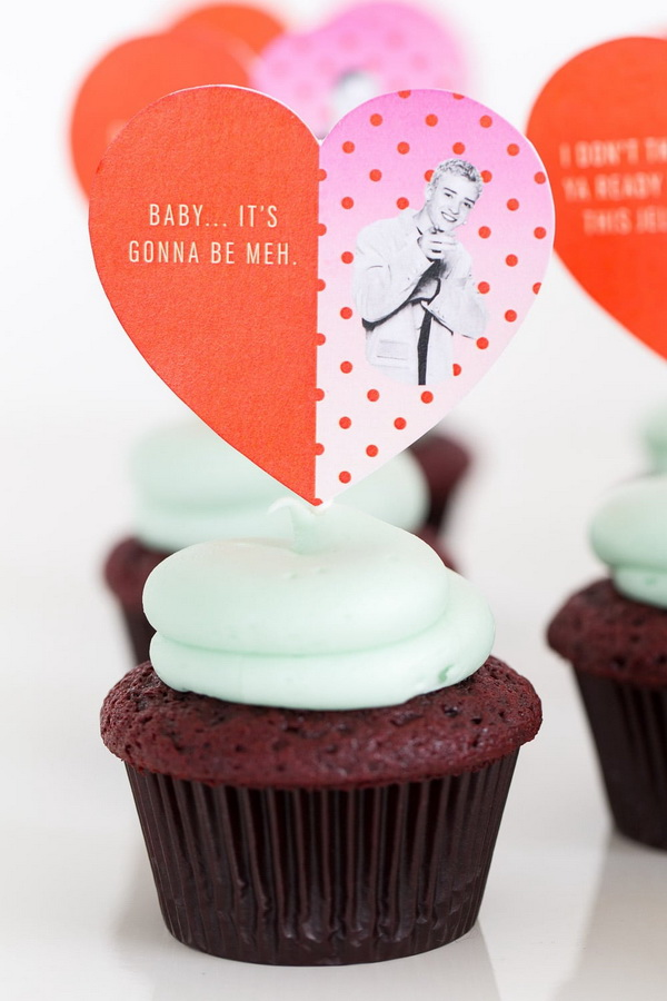 DIY Pop Culture Song Lyric Cupcake Toppers.