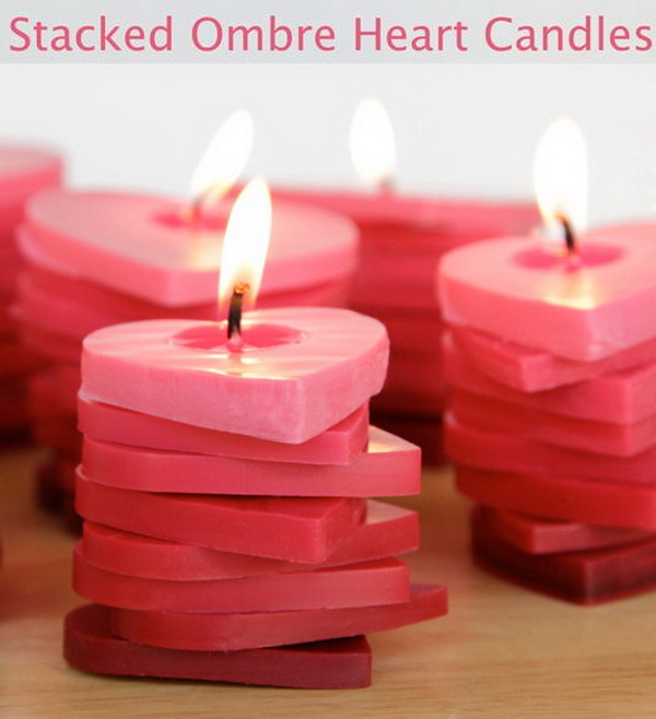 Stacked Ombre Heart Candles.