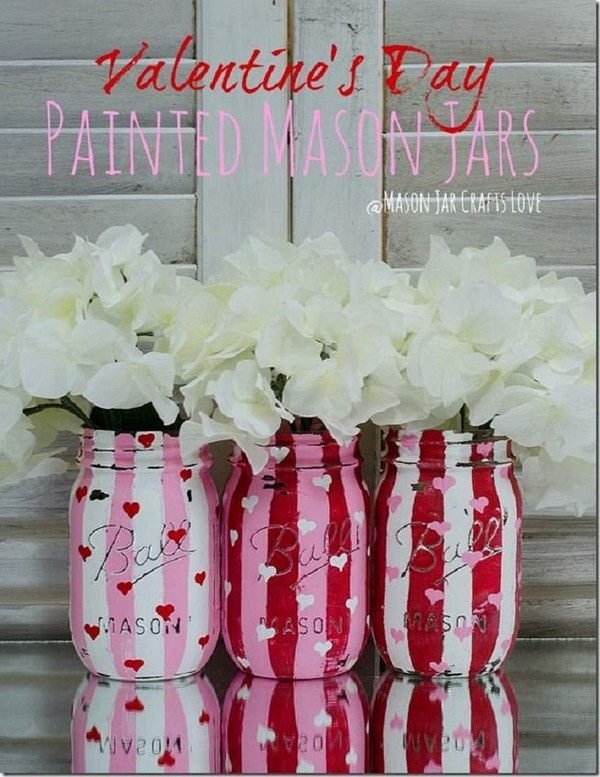 Valentine Painted and Distressed Heart Mason Jars.