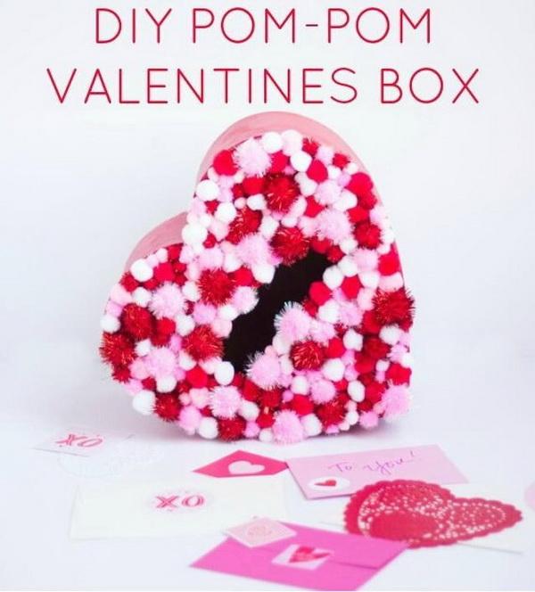 DIY Pom-Pom Valentines Box.