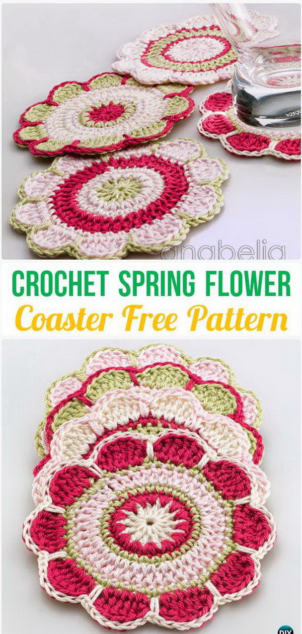 Spring Flowers Crochet Coasters. Crochet coasters are alway the perfect project for the beginners to start with! Here is another flower pattern for your inspiration.