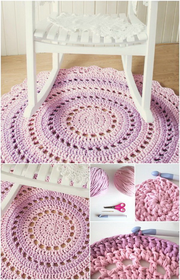 Crochet Mandala Floor Rug. Make a beautiful crochet floor rug from T-shirt yarn. It will be a cozy addition to any room in your home.