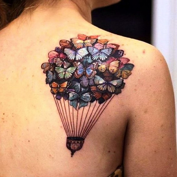Butterfly Baloon Tattoo Design on Back Shoulder.