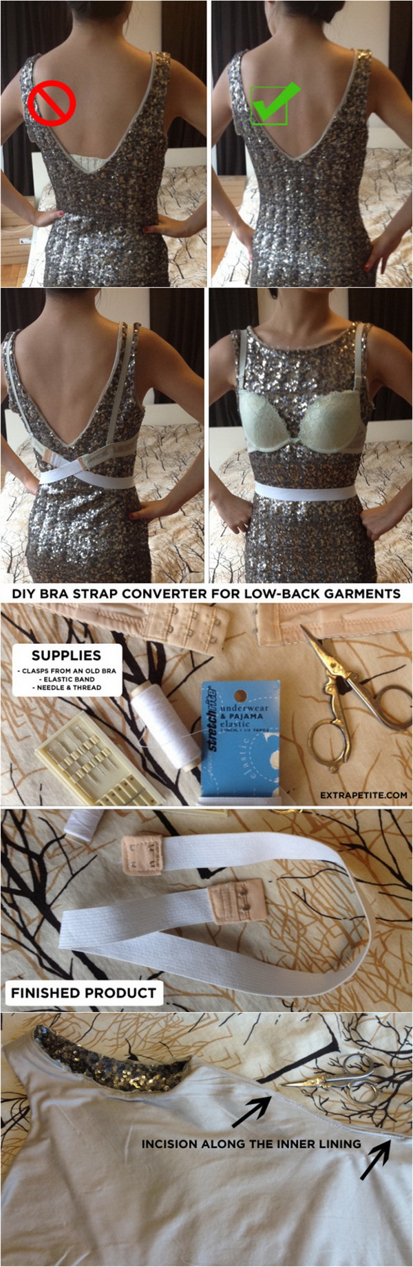 DIY: How To Make A Bra Strap Converter For Low-Back Dresses In 5 Minutes.