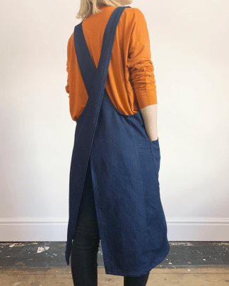 long denim cross-back apron