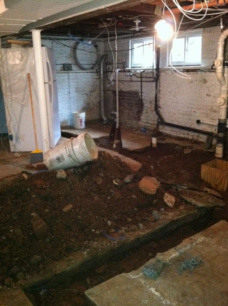 basement floor work