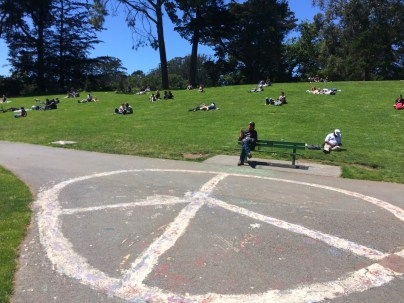 Peace sign at the bottom of Hippie Hill