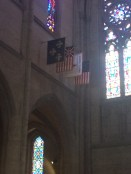 An Appeal to Heaven flag inside Grace Cathedral. There is also one outside City Hall.