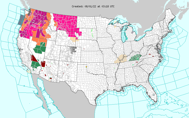NWS Watch, Warning, Advisory Map