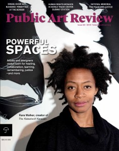 the cover of PAR 58 includes a headshot of Kara Walker and the headline Powerful Spaces