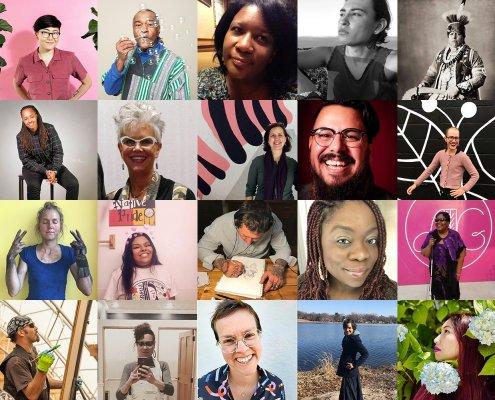 portrait grid of twenty artists