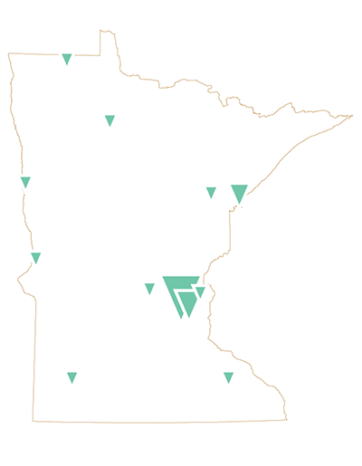 Map of Minnesota with pinpoints designating different areas of the state