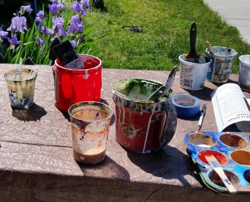 A table of painting materials