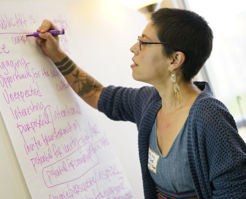 "Forecast consultant Candida Gonzalez writes a list of traits under the heading ""Public Art Is."" The list includes words like Free, Engaging, Opportunity, Unexpected, Interesting, Purposeful, Invite Transformation, Potential for Unity and/or Discord, Potential for Conversation, and more"