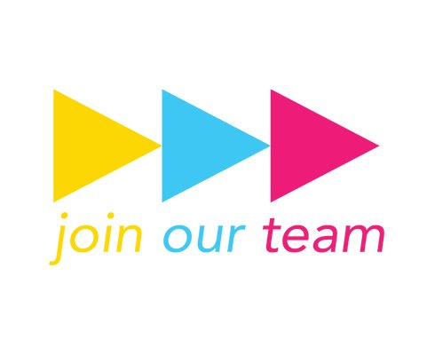 "Three colorful arrows point to the right, above the message ""join our team"""