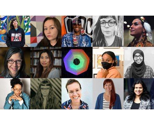 grid of 15 artist grantee portraits