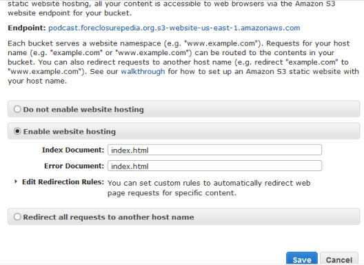 CNAME/DNS Amazon S3 Bucket URL Forwarding