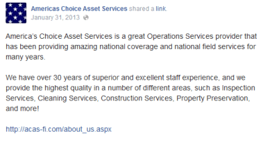 America's Choice Asset Services Facebook Page