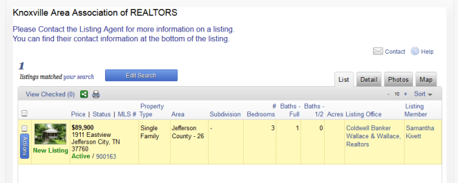 KAAR Main Screen Query Showing Listing Agent