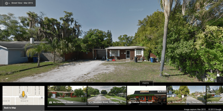 Photo of 1632 Drew ST Clearwater, FL, dated March, 2015. --- Credit: Google Earth