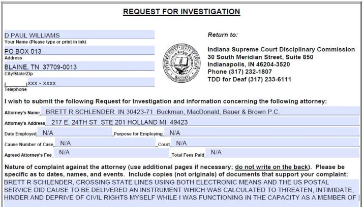 Indiana Bar License Complaint Against Brett R Schendler