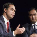 Julian Castro and his twin brother Representative Joaquin Castro at the LBJ Presidential Library.