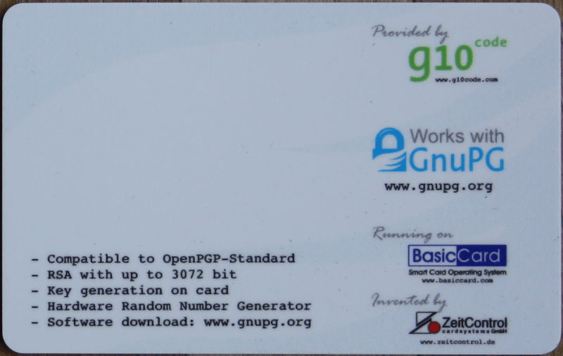 OpenPGP Card Side 2