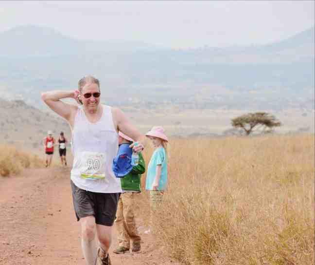 Mike Silvio running in Africa