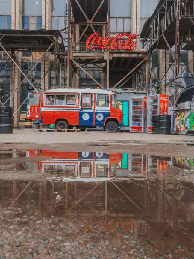 An Urban view of a food truck in Minsk, Belarus.