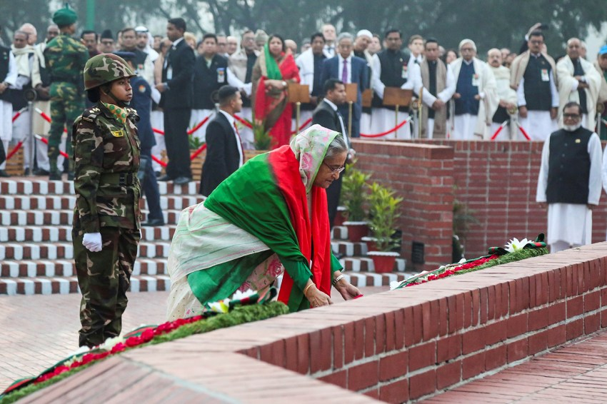 Bangladesh's Prime Minister Sheikh Hasina lays a wreath at the national memorial of the 1971 Bangladesh independence war mark the country's Victory Day in Savar, Bangladesh, on Dec. 16.