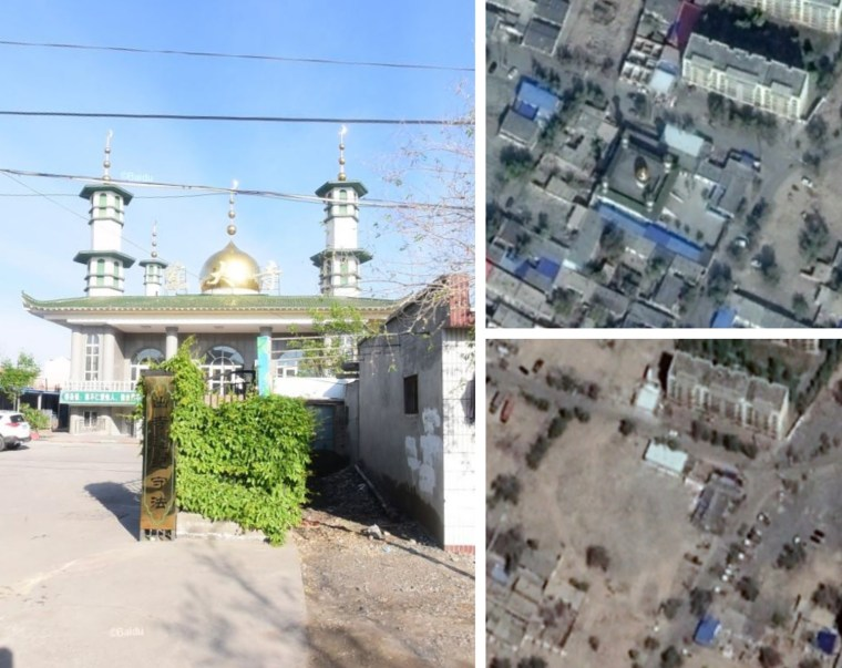 The Dongda Mosque in Manas County (Changji Hui Autonomous Prefecture), erected in 2013 and destroyed in 2017 or 2018. Left: Baidu street view from May 8, 2016; top right: Google Earth satellite view from Oct. 15, 2017; bottom right: Google Earth satellite view from May 4, 2018.
