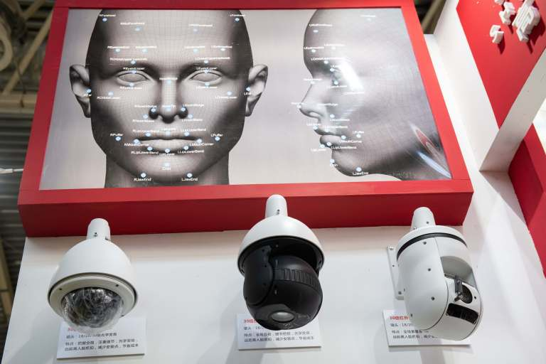 Security cameras with artificial intelligence facial recognition technology at the China International Exhibition on Public Safety and Security in Beijing on Oct. 24, 2018.