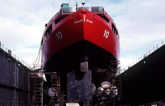 U.S.S. Polar Star awaiting repairs in drydock in Seattle, WA. Photo: U.S. Coast Guard.