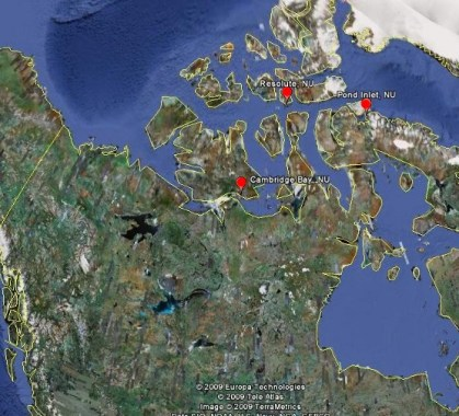 Possible Locations for Research Station. Map made in Google Earth.