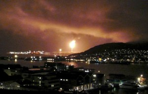 Snoehvit burning at night. Copyright Reuters.