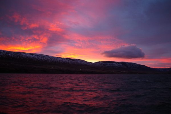 Conferences might require you to get up early, but at least in Akureyri, the benefit is of seeing otherworldly polar sunrises. (c) Mia Bennett