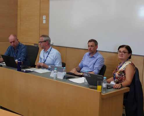 From left to right, Prof Ben O'Loughlin, Prof Alister Miskimmon, Prof Patrick Müller and Prof Natalia Chaban